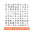 Software & application icons set, vector — Stock Vector
