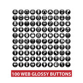 100 web black glossy buttons set, vector — Stock Vector