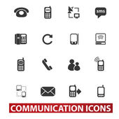 20 communication signs, icons set, vector — Stock Vector