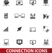Connection icons set, vector — Stock Vector