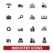 Industry icons set, vector — Stock Vector