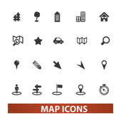Map & navigation icons set, vector — Stock Vector
