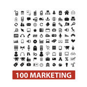 100 marketing icons set, vector — Vetorial Stock