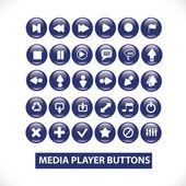 Media player blau glänzende tasten set, vektor — Stockvektor