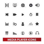 Media player icons set, vector — Stock Vector