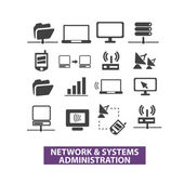 Network & systems administration icons set, vector — Stock Vector