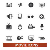 Movie and cinema icons set, vector — Stock Vector