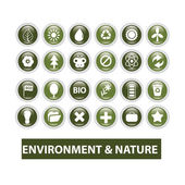 Nature, ecology glossy buttons set, vector — Stock Vector