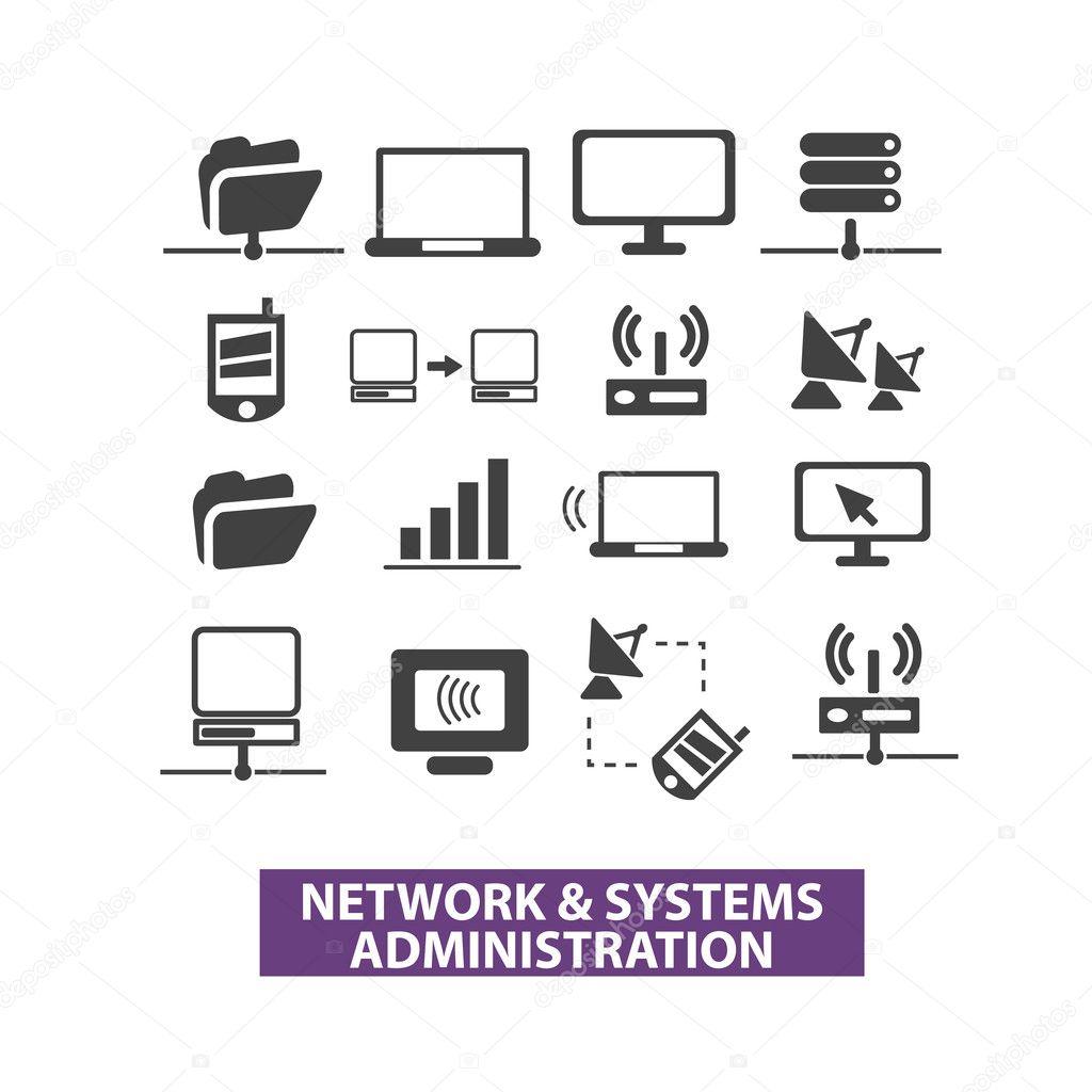 Network Equipment Icons : Rede sistemas de administração ícones vetor definido