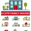 8 cute family houses, icons, signs, vector illustrations — Stock Vector