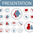 Presentation buttons, signs, icons set, vector — Stock Vector