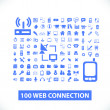100 web communication, connection icons, signs set, vector — Stock Vector #37185055