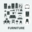 Furniture icons set, vector — Stock Vector