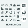Hotel, motel icons set, vector — Stock Vector