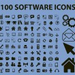 Stock Vector: 100 software icons, signs, vector illustrations