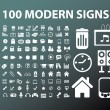 100 modern office signs, vector — Stock Vector