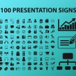 100 presentation icons, signs, vector illustration — Stock Vector