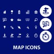 Map, navigation icons — Stock Vector