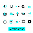 Movie icons set, vector — Stock Vector