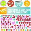 Autumn & winter sales tags, stickers, labels, signs set, vector — Stock Vector #37185639