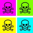Cartoon skull icons, signs set, vector — 图库矢量图片