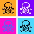 Cartoon skull icons, signs set, vector — Vecteur