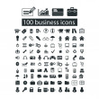 100 business, management icons set, vector — Stock Vector