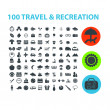 100 travel, recreation icons set, vector — Vector de stock #37185869