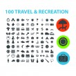 100 travel, recreation icons set, vector — Vettoriale Stock #37185869