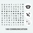 100 communication black icons set, vector — Stock Vector