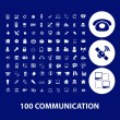 100 communication, connection, technology, computer icons — Stock Vector