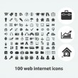 100 web internet icons set, vector — Stock Vector