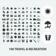 100 travel, tourism, vacation icons set, vector — Stock Vector