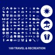 100 travel, tourism, recreation icons — Vecteur #37185921