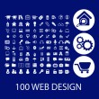 Stock vektor: 100 web design icons