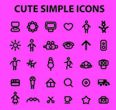 Simple family, doodle icons, signs set, vector — Vettoriale Stock