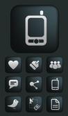 媒体 & 通讯按钮设置,矢量 — 图库矢量图片