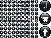 100 cool black buttons: office, media, business. vector — Stock Vector
