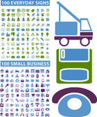 200 common & business icons, signs, vector illustrations — Stock Vector