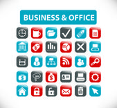 Business & office buttons, signs, icons set, vector — Stock Vector