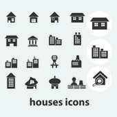 Cute house, home icons, signs set, vector — Stock Vector