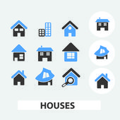 Houses icons, signs set, vector — Stock Vector