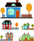 Family houses. Vector — Stock Vector