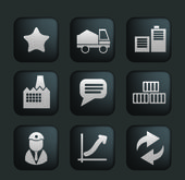 Business & industry black buttons set, vector — Stock vektor
