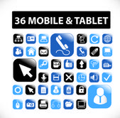 36 mobile & tablet buttons, icons set, vector — Stock Vector