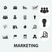 Marketing icons set, vector — Stock Vector