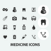 Medicine, health care icons set, vector — Stock Vector