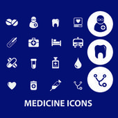 Medicine icons, medical, health care, doctor symbols — Stock Vector