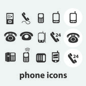 Phone icons set, vector — Stock Vector