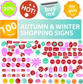 秋 & 冬季销售标签、 贴纸、 标签、 标志集向量 — 图库矢量图片